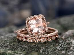 3 engagement ring 3 carat cushion morganite wedding set diamond gold engagement