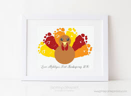infant thanksgiving thanksgiving decoration turkey baby footprint art fall decor