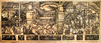 drawings by the muralists mary anne martin fine art design for the north wall detroit industry mural charcoal on paper 19 45 inches 48 9 114 3 cm sight