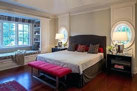 red bedroom bench bay window built in bench bedroom traditional