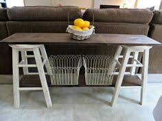 Sofa Table With Stools Diy Sofa Table 2 Stools Painted With 2 Coats Of Paint A