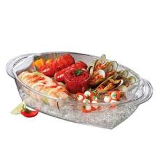 buffet on ice acrylic plastic oval serving tray