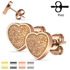 surgical steel stud earrings pair of surgical steel stud earrings w glitter heart design