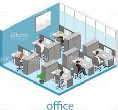 flat 3d isometric abstract office floor interior departments