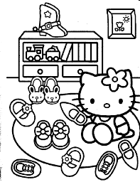 hello kitty u0026 her many shoes coloring page tea parties
