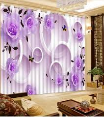 Lavender Window Curtains Custom 3d Curtains Circle Flowers For Living Room Bedroom 1 2 Mini