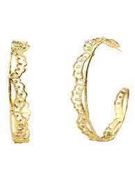 large gold hoop earrings scallop hoop earrings gold frances flowers