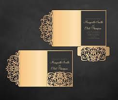tri fold invitations tri fold pocket envelope 5x7 wedding invitation dxf svg eps