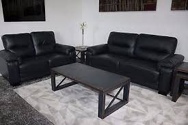 Scs Leather Sofas Ex Display Scs High Quality 3 2 Seater Black Leather Sofas