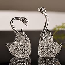handmade 2pcs glass swan figurine home accessories