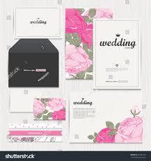 Credit Card Wedding Invitations Set Floral Vintage Wedding Cards Invitations Stock Vector