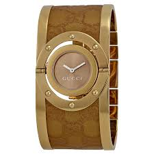ladies leather bracelet watches images Gucci twirl brown dial gold tone steel with leather bracelet jpg