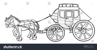 western stagecoach horses outline drawing stock illustration
