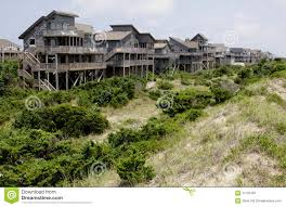 row outer banks beach houses stock image image 11191561
