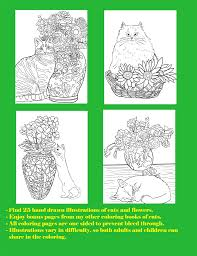 cats flowers coloring book cat