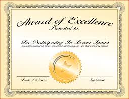 awesome award of excellence certificate template sample with