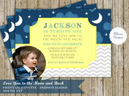 First Birthday Invitation Cards For Boys Love You To The Moon And Back Birthday Invitation First