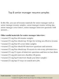 Senior Management Resume Examples by Top 8 Senior Manager Resume Samples 1 638 Jpg Cb U003d1427853653