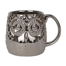 owl mug metallic silver owl mug kirklands