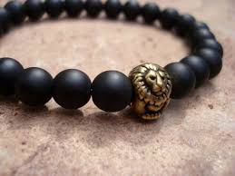 black bracelet onyx images Black onyx bead bracelet for men matte onyx natural stone lion jpg