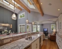 cathedral ceiling kitchen lighting ideas half vaulted ceiling modern kitchen design with marble countertop