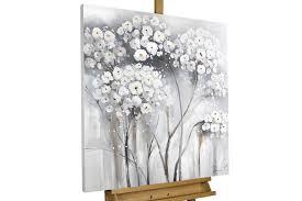 Wohnzimmerm El Weiss Grau Acryl Gemälde Mit Blumen In Kühlem Grau Weiß Kunstloft