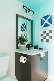 photos hgtv blue bathroom with double vanity and mirrors the cute