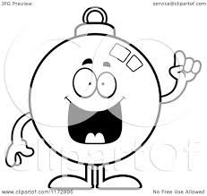 cartoon clipart of a smart christmas ornament mascot with an idea