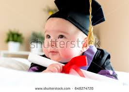 baby graduation cap and gown happy newborn baby girl house stock photo 534909136