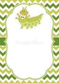 vector card template with a cartoon caterpillar on chevron
