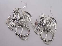 antiqued silver dragon earrings gothic winged dragons celtic