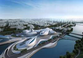 modern architecture by zaha hadid architects architectural amazing modern complex by the river as seen from the air