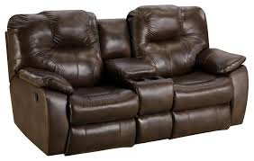 washington chocolate reclining sofa power reclining sofa with console by southern motion wolf and