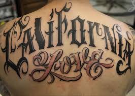 california love tattoo on upper back