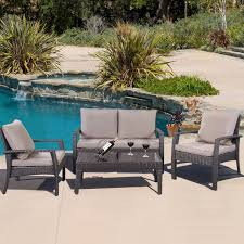 Patio Furniture Set by Amazon Com Giantex 4pc Patio Rattan Furniture Set Tea Table