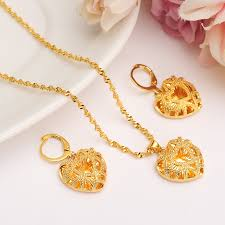 bridal jewelry necklace earrings images African habesha set ethiopia heart pendant necklace earrings gold jpg
