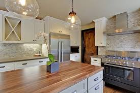 Seattle Home Enhancement Twotone Kitchen With Shaker Cabinets - White kitchen cabinets with butcher block countertops