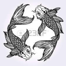 hand drawn romantic beautiful art fish koi carp symbol