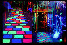 glow in the party decorations these hanging fabric that is blacklight reactive give more we