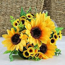 silk sunflowers 1 bouquet artificial silk sunflower 7 stems flowers for home
