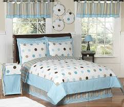 blue and brown mod dots comforter set 3 piece full queen size by