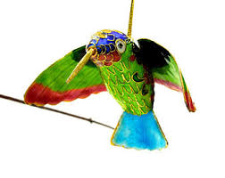 vintage chinese brass cloisonné floral hummingbird ornament