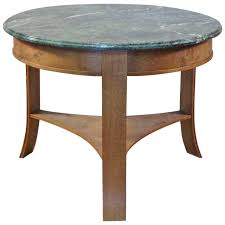 1940s 1950s circular oak center table with green marble for