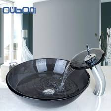 bathroom washbasin countertop tempered glass basin sink faucet set