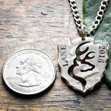 Necklace With Name Buck Deer Arrowhead Necklace With Name And Date Hand Cut And