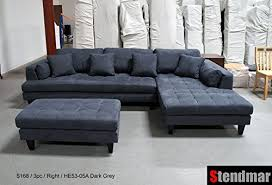 gray sectional with ottoman amazon com 3pc new modern dark grey microfiber sectional sofa