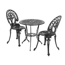 Black Bistro Table And Chairs Peacock Bistro Patio Set Patio Furniture At Lowes Lowes Patio