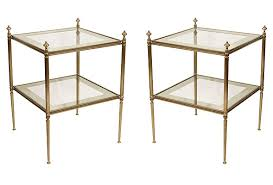 square glass end table pair of brass and glass two tier vintage end tables mid 20th