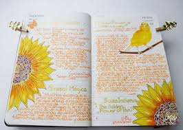 photo pages sunflower girasol journal journaling and journaling
