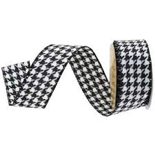 black and white wired ribbon black white houndstooth wired edge ribbon 1 1 2 hobby lobby